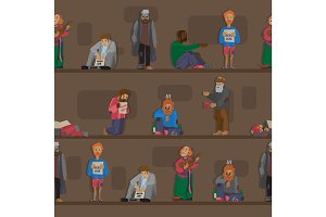Homeless people characters cadger set unemployment men needing help bums and hobos stray vector seamless pattern background .