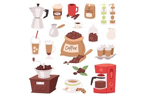 Coffee drink cartoon pot devices and morning beverage desserts espresso cup caffeine product vector illustration