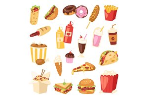 Cartoon fast food unhealthy burger sandwich, hamburger, pizza meal restaurant menu snack vector illustration.