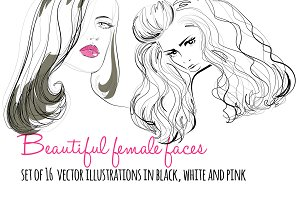 Beautiful woman faces vector set