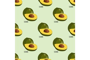Lucuma fruit seamless botanical pattern background vegan eggfruit tropical food plant vector illustration.