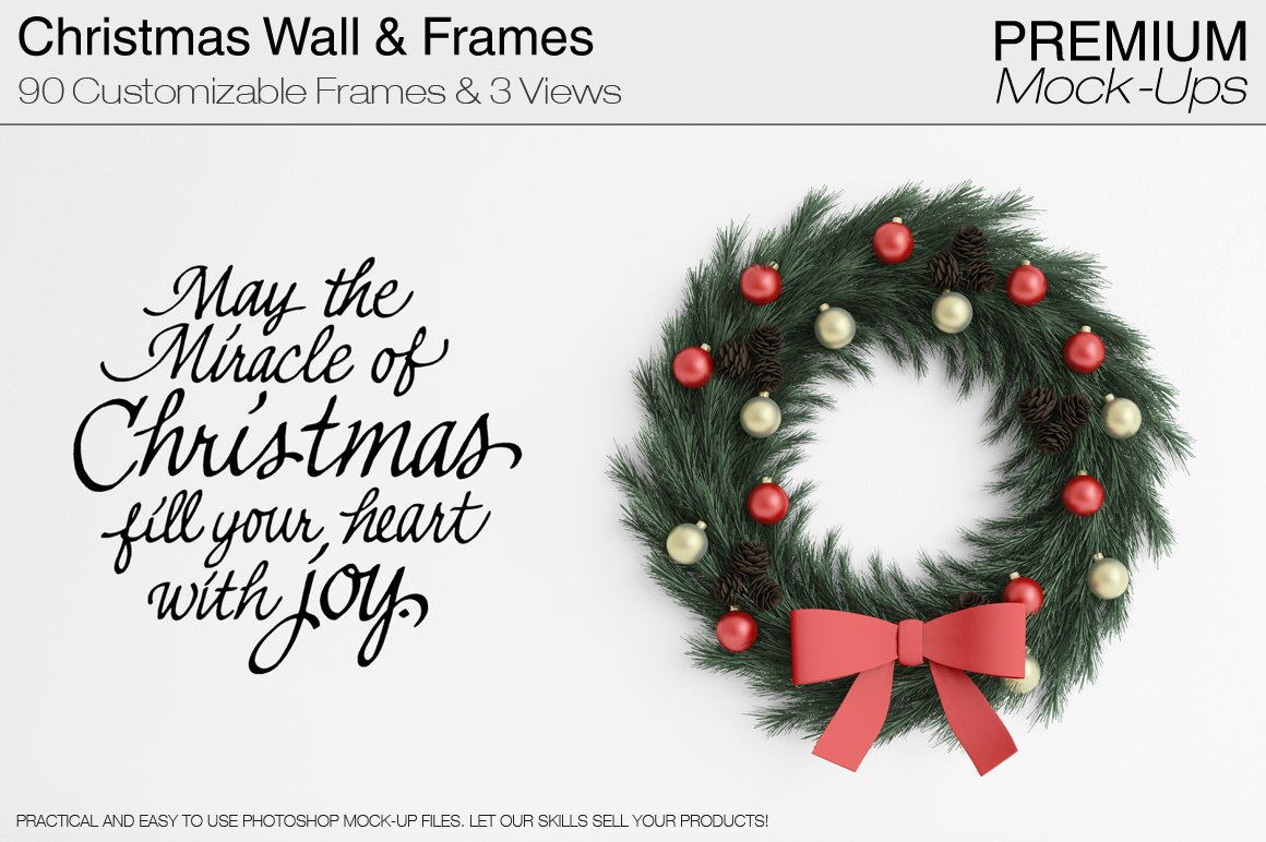 Christmas Wall and Frames Mockup Set ~ Product Mockups ~ Creative Market