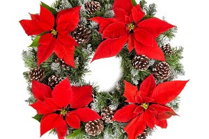 Christmas wreath red poinsettia