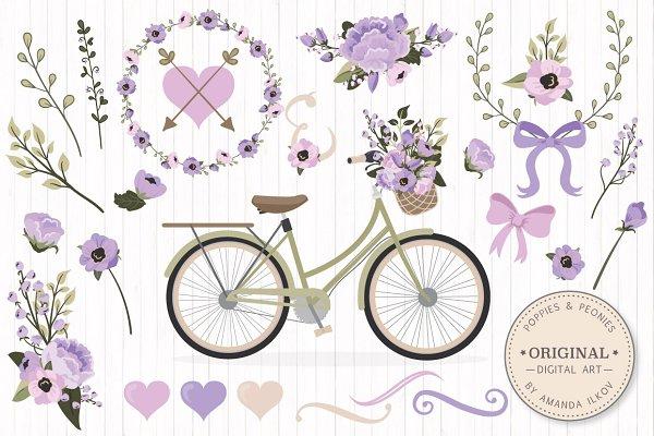 Lavender Bicycle & Flower Vectors