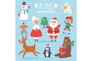 Christmas vector characters cute cartoon Santa Claus, snowman, Rreindeer, Xmas bear, Santa wife, dog New Year symbol, elf child boy and penguin individual characteristics illustration