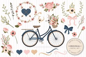 Navy & Blush Floral Bicycle & Extras