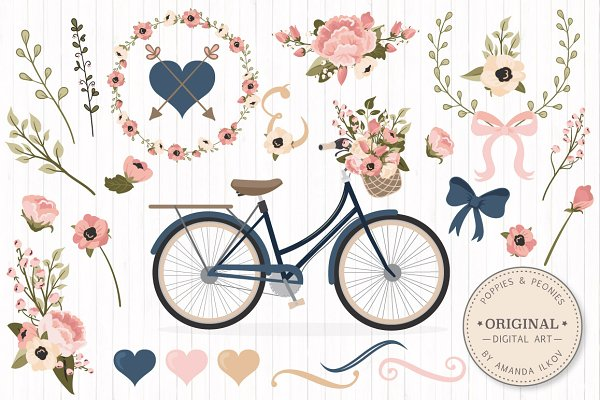 Navy & Blush Floral Bicycle & Extra…