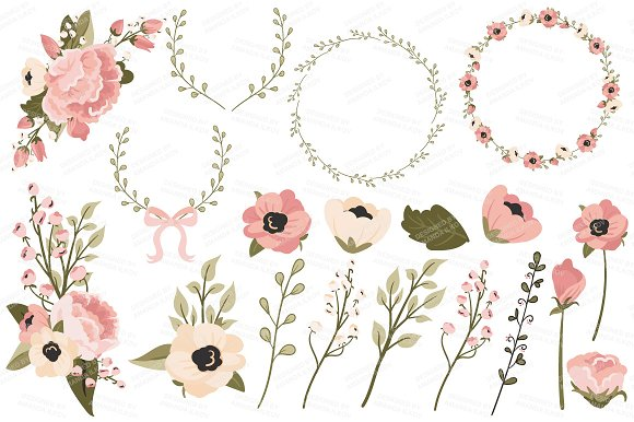 Navy blush floral bicycle extras illustrations creative market mightylinksfo
