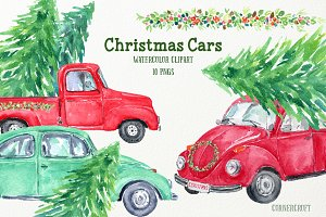 Watercolor Christmas Cars