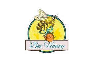 Bee Carrying Honey Pot Circle Drawin