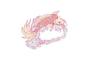 Nishikigoi Koi Jumping Waves Drawing