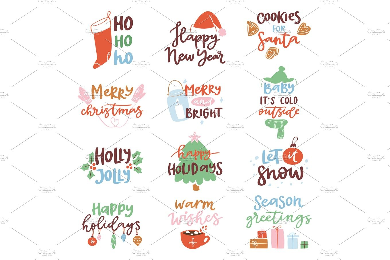 2018 happy new year text logo badge lettering holiday calendar print design christmass newborn party illustration graphic objects creative market