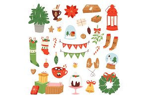 Christmas icons symbols vector for New Year celebration decoration illustration of Xmas festive ornament symbols.