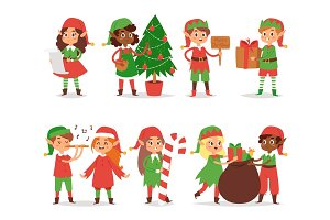 Christmas elfs kids vector children Santa Claus helpers cartoon elfish boys and girls young characters traditional costume celebrated
