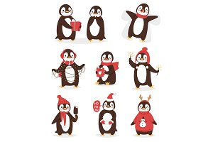 Christmas cute penguin vector character cartoon bird celebrate Xmas poses - play, walc, fly and happy face smile in Santa red hat