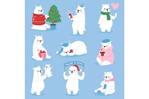 Christmas white bear vector animal cute beauty character funny style different poses celebrate Xmas holiday or New Year time big animal