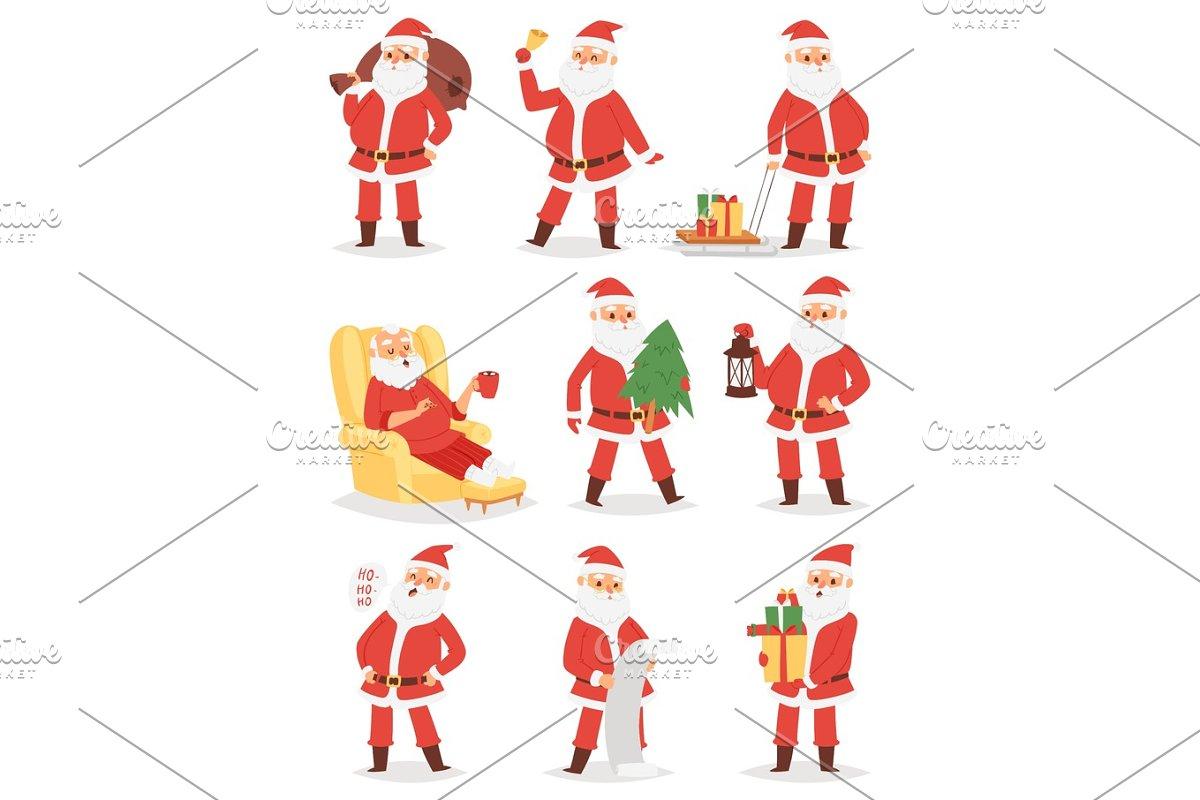 953d7c48d501b Christmas Santa Claus vector character poses illustration Xmas man ...