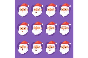 Christmas Santa Claus emotion faces vector expression character poses illustration emojji Xmas man in red traditional costume and Santa hat
