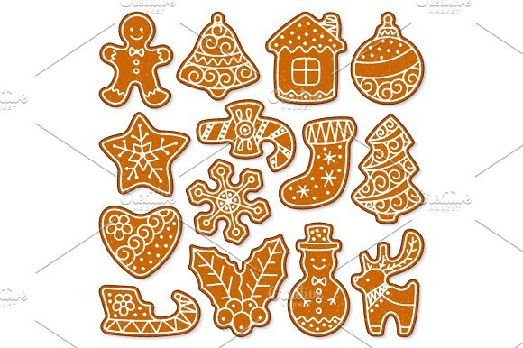 Christmas Cake Vector Sweet Desserts Food Traditional Cakes For Xmas Dinner And Teatime Tree Deer Cakeman Bell House Sock And Penguin Illustration
