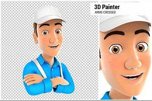 3D Painter with Arms Crossed