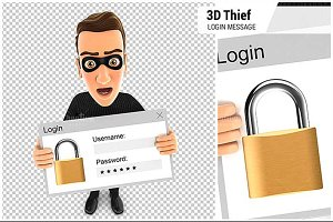 3D Thief Holding a Login Message