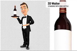 3D Waiter Standing with Wine Bottle