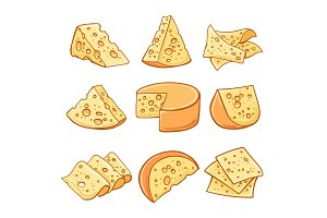 Cheese doodle icons set