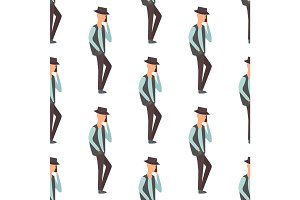 Trendy flat men with phone gadgets seamless pattern group characters using hi tech technology vector illustration.