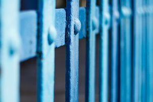 Fence with blue metal slats (3)