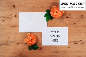 flower invitation wedding mockup