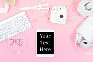 Pink iPad Mockup Styled Stock Photo