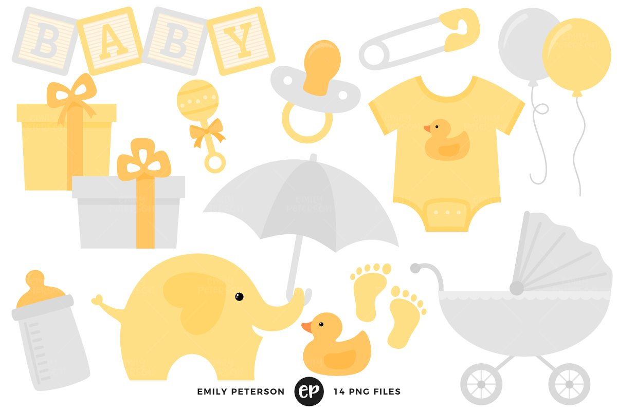 Gender Neutral Baby Shower Clipart Illustrations Creative Market