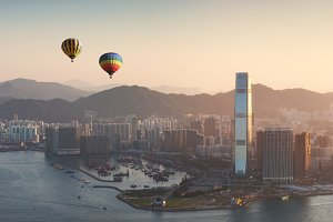 Hot air balloon over Hong Kong