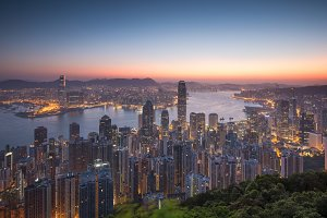 Hong Kong skyline at sunrise