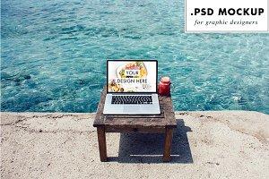 Digital Nomad PSD mockup - beach