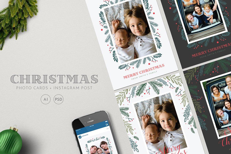 Christmas Photo Cards + Instagram ~ Card Templates ~ Creative Market