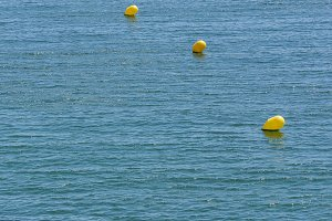 Buoys in a row.