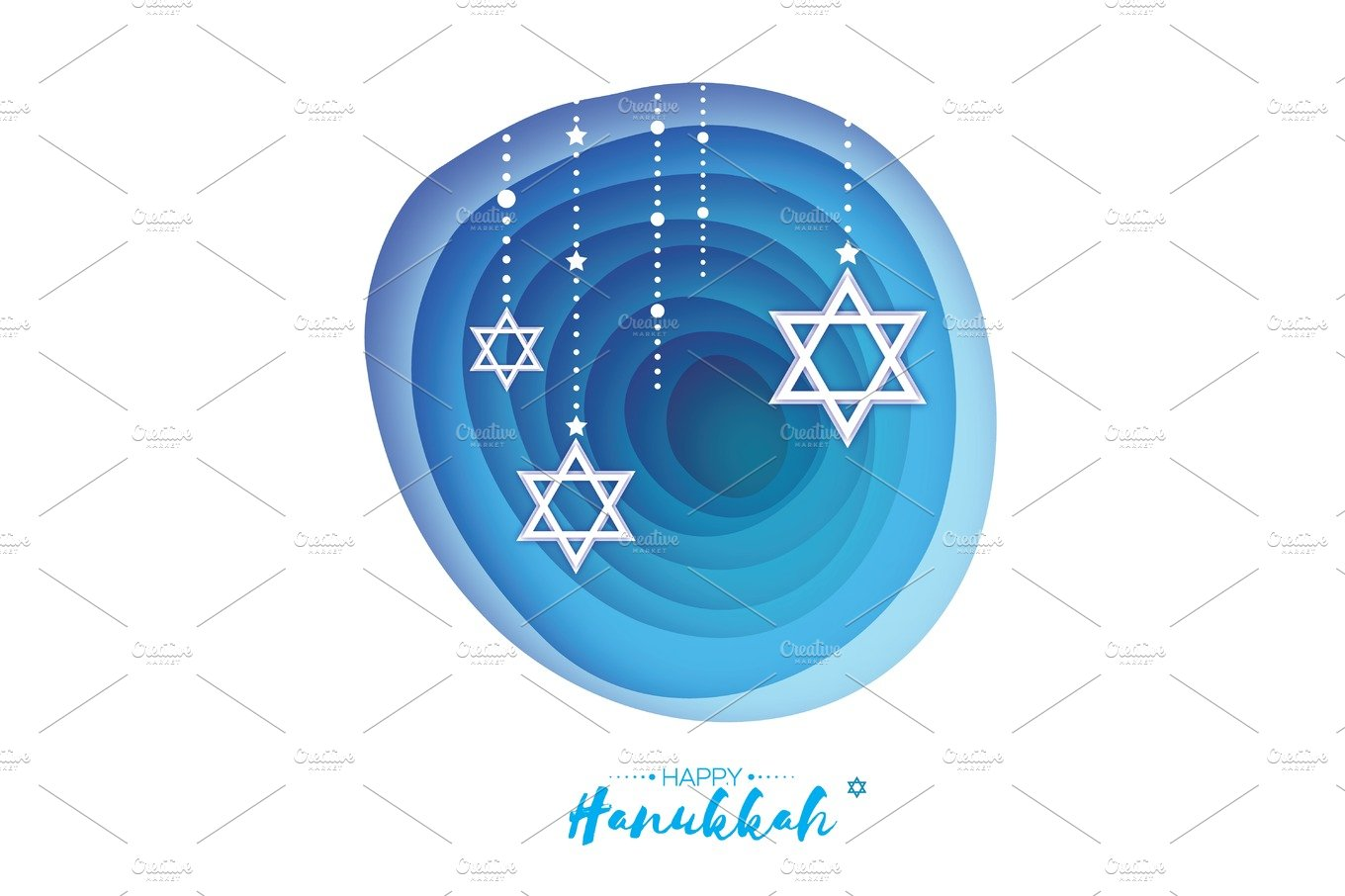 Origami Star Of David Happy Hanukkah Shining Stars Greeting Card