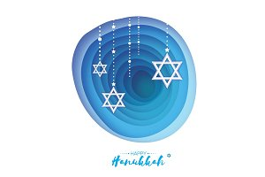 Origami Star of David. Happy Hanukkah. Shining stars. Greeting card for the Jewish holiday on blue background with garland. Hanuka Circle tonnel frame. paper cut style. Origami cave.