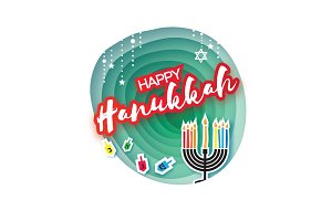 Origami Happy Hanukkah. Greeting card for the Jewish holiday. Menorah traditional candelabra and burning candles Hanukkah dreidel with letters of the Hebrew alphabet. Star of David. Paper cut style.