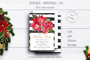 Christmas Flower Invitation Template
