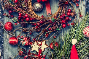 Red blue Christmas composition