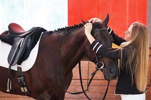 Jockey prepares a horse