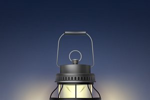 Vintage metal burning lantern