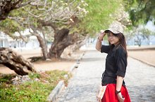 Asian women black shirt Standing