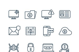 Internet security outline icons