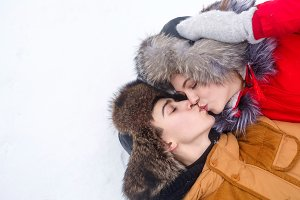 Loving couple of teenagers. Winter