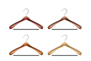 Set of wooden clothes hangers