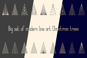 Big set of modern Christmas trees