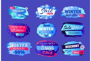 Winter Discount Best Offer Vector Illustration Set